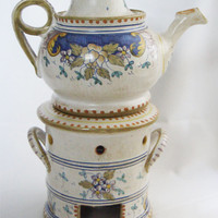 Vintage 1960s hand painted maiolica ceramic tea pot with lid and candle holder from Deruta, Italy - Mediterranean home decor