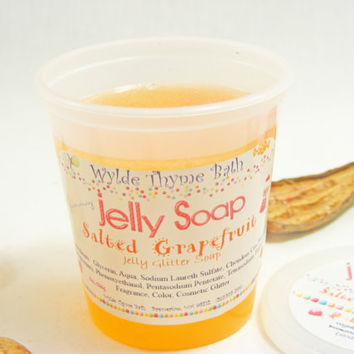 Salted Grapefruit  Glitter Jelly Soap - Wiggly Jiggly Jelly Soap - Vegan - Fun Jelly Soap - Shower Jellie