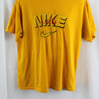 vtg 90s Nike Air Embroidered T-shirt Yellow / Black / Red - XL -Extra Large - Jordan - Rare