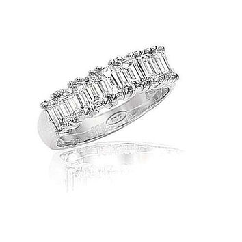 14kt Gold Semi Eternity Emerald Cut Diamond Band 1 3/4ct TW