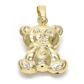 Gold Layered 5.180.016 Fancy Pendant, Teddy Bear and Hollow Design, Polished Finish, Gold Tone
