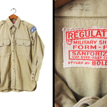 Vintage Sanforized WWII Military Shirt Vat Dyed 1940s Gussets Boldwin Regulation - Men's Small