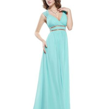 V neck Long Evening or Prom Dress
