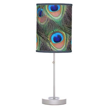 Peacock Feathers Photo Desk Lamp