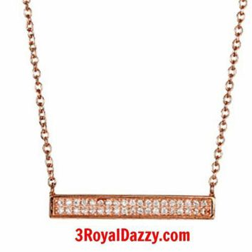 """14k Rose Gold layer on 925 sterling silver CZ bar pendant rhodium necklace 16""""18"""