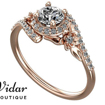 Moissanite Engagement Ring,Unique Flower Engagement Ring,Flower Engagement Ring,Rose Gold Ring,Vintage Ring,Leaves Engagement Ring,Fine Ring