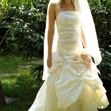 Romantic Fashionable Strapless Pure Silk Wedding by KataKovacs