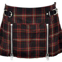 Vintage Lip Service Black & Red Plaid Punk & Disorderly Zipper D-Ring Mini Skirt Large