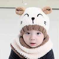 A Hat for A Boy Winter Children's Hats For Girls Kids Boys Hat Scarf Set Cute Knitted Hats Cartoon Baby Cat Hat Warm