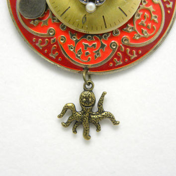 Steampunk Up-cycled Pendant with Vintage Watch Face Marcacite Crystal Octopus Charm Game Spinner