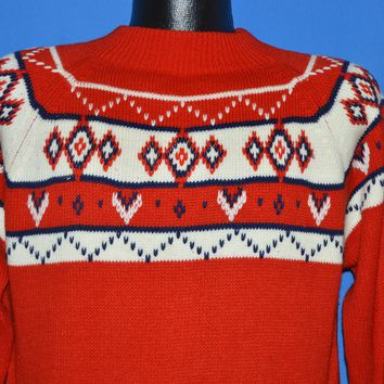 70s JC Penney Snowflake Nordic Winter Sweater Small