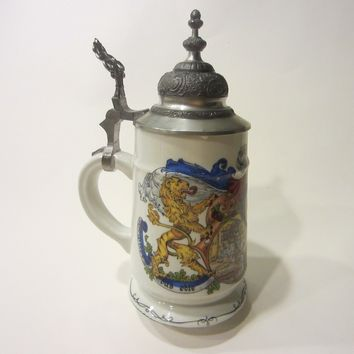 Handarbeit Dr Markle Porcelain Stein Pewter Lid Tankard Marked
