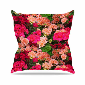"Louise Machado ""Geranios"" Pink Floral Outdoor Throw Pillow"