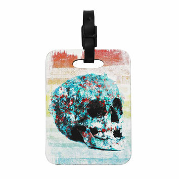 "Frederic Levy-Hadida ""Floral Skully 2 "" Coral Teal Decorative Luggage Tag"