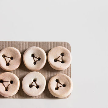 ceramic buttons neutral oyster satin finish set of 6 by karoArt