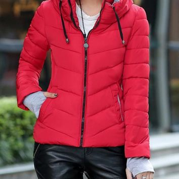 New Red Pockets Drawstring Zipper Hooded Long Sleeve Casual Coat