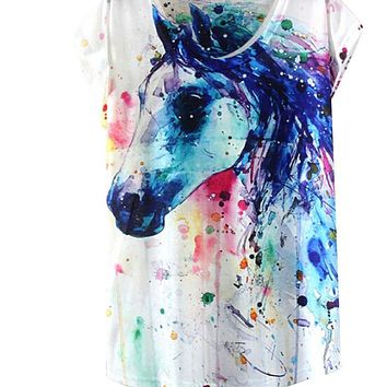 Summer Style Ink Painting Horse Pattern Print T-Shirt Women Summer Clothes 2017 Round Collar Women T Shirt Female Tops