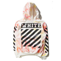 """""""Off-white""""Dye Colorful Sweater Leisure Hooded Pullover Coat"""