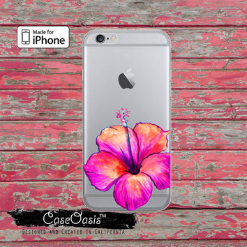 Pink Hibiscus Flower Floral Watercolor Tumblr Clear Case iPhone 6 iPhone 6 Plus iPhone 6s iPhone 6s Plus iPhone 5/5s iPhone 5c iPhone 7 Plus