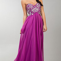 Long Strapless Sweetheart Bodice Prom Gown by Dave and Johnny