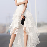 White Floral Gauze Tiered High-Low Dress