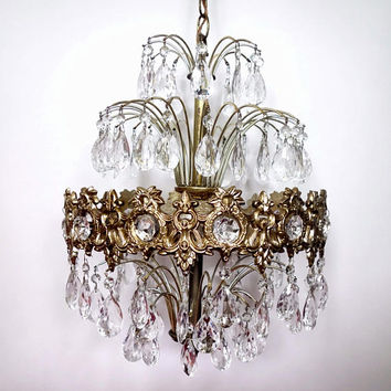 Hollywood Regency  Waterfall Crystal Prism Chandelier, Vintage Ceiling Light Fixture, Mid Century Loevsky Pendant Light