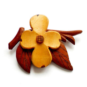 Vintage Wooden Dogwood Blossom Brooch - Hand Carved Wood - Stained Wood Flower - Easter - 1940s Style - Broach Pin