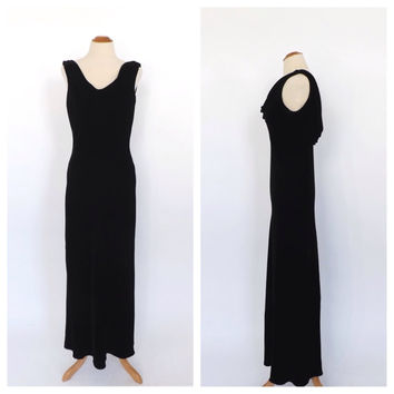 Vintage 90s does 1930's Black Velvet Dress Maxi Gown Art Deco 1940's Long Slinky Sheath Dress Cowl Neck Draped Gown Old Hollywood Dress