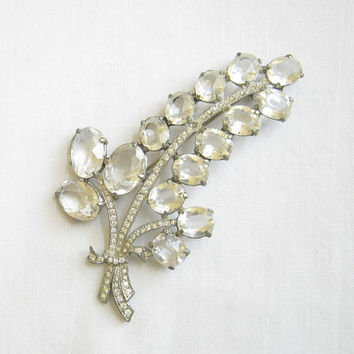 Vintage Art Deco Antique Pot Metal Clear Cut Glass and Clear Rhinestones Flower Brooch or Pin