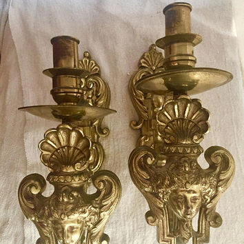 Art Nouveau Cherub Sconces - antique brass sconces - winged Victory - French - angels - coquillage - solid cast brass - signed JD 191 - rare