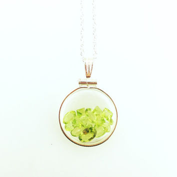 August Birthstone - Gemstone Shaker Locket Necklace with Peridot