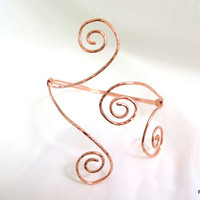 Copper upper armband, tribal upper arm bracelet, hammered copper cuff