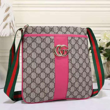 GUCCI Women Shopping Leather  Crossbody Satchel Shoulder Bag