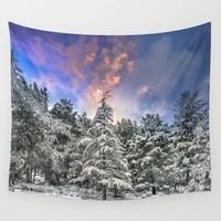 """""""Mountain Light V"""" Snowy Forest At Sunset Wall Tapestry by Guido Montañés"""