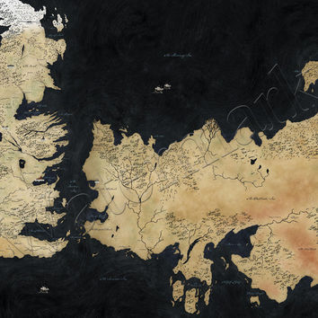 Game of Thrones Westeros Map A1 Poster HBO Stark by truedesignz