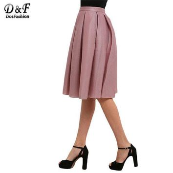 CREYET7 Dotfashion Ladies Summer/Spring Style Pink High Waist Pleated Flare Skirts Casual New Arrival 2016 Women Skirt