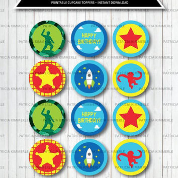Printable Cupcake Toppers, Cowboy, Cowgirl, Sheriff, Rocket Ship, Vintage Toys, Army Man, Toys party, Toys Birthday, INSTANT DOWNLOAD
