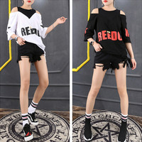Fashion Sexy Casual Letter Print Multicolor Hollow Round Neck Short Sleeve T-shirt Shirt Top Tee