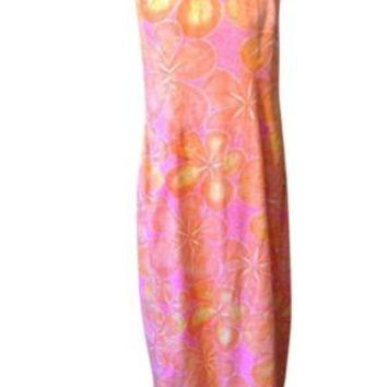 Vintage Malihini Pink Orange Designer Collection Hawaiian Dress MuuMuu RL-24