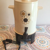 Vintage 1960's Poly Perk Automatic Percolator Coffee Urn With Daisy Pattern