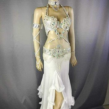 Halloween  Belly Dance Samba Costume silver color bra+ belt +skirt+arm+neck 5 pcs tf1732+sk38 Tenaldia Macchar Cosplay Catalogue