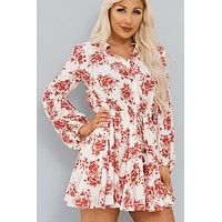 If Only You Knew Dress (Cream/Red)