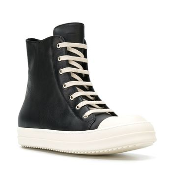 Black Leather Hi-Top Sneakers by Rick Owens
