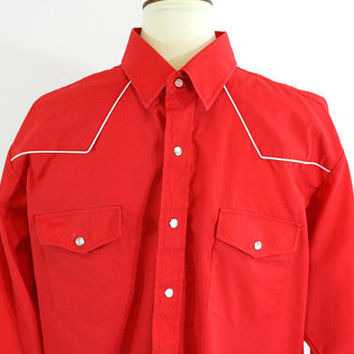 Men's Western Shirt Solid Red White Piping Around Yoke XL | Mens Cowboy Shirt with Pearl Snap Buttons | Dressy Western Men | Square Dance