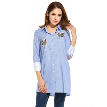 Womens Casual 3/4 Sleeve Loose Bird Pattern Button Down Collar Patchwork Fashion Shirt