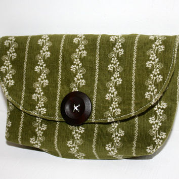 Small Corduroy Clutch, Green, Cell Phone Cozy, Floral, The Cameran Clutch, iPhone