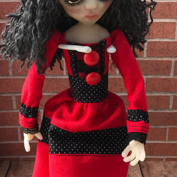 Clara, ooak doll, gothic doll, art doll, christmas gift, birthday gift, posable doll, clay doll, polymer clay doll, doll clothes, doll photo
