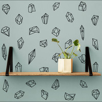 Geometric Shapes & Gems Wall Decal - 50 Modern Vinyl Decals, Wall Stickers, Geometric Wall Decor - Great For Home Decor, Gifts and More!