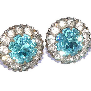 Blue Rhinestone Earrings, vintage screw back Earrings