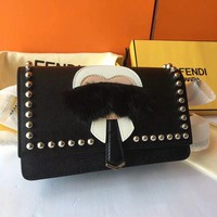 FENDI WOC Chain Rivet Crossbody Shoulder Bag